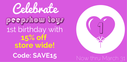 15% off Store Wide at Peepshow Toys